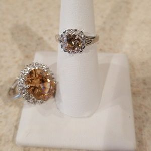 Jewelry - New 925 Morganite & White Topaz Ring Size 7